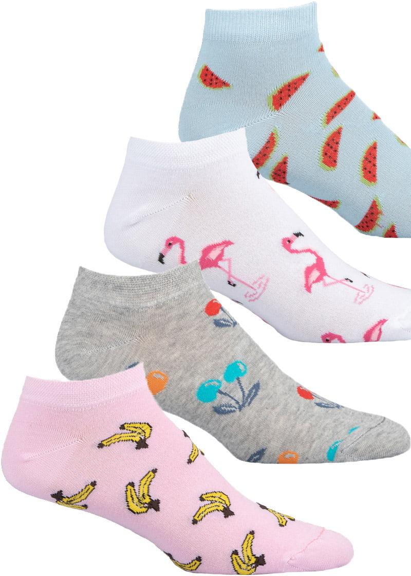 Κάλτσες Γυναικείες 4 Τεμαχίων Μπανάνες-Κεράσια-Φλαμίνγκο-Καρπούζια Pack3